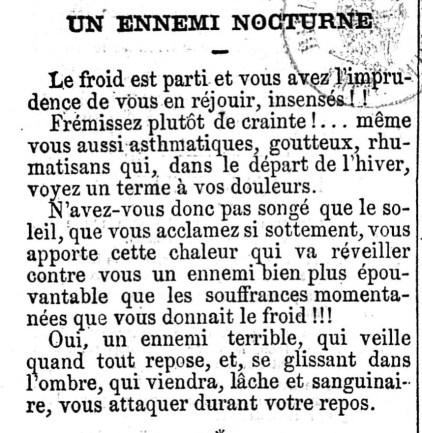 """Le Petit Journal, 29-04-1869, """"Un ennemi nocturne"""", Thomas Grimm. Source : Gallica/BnF."""