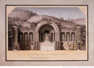 Grande fontaine de l'esplanade, Lequeu, 1777-1814. Plume, lavis et aquarelle, 51,7 x 36,4 cm.