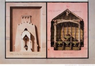 La Pompe à feu et La Laiterie, Lequeu, 1777-1814. Plume, lavis et aquarelle, 51,4 x 35,3 cm.