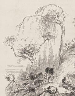 """Illustration pour le chapitre """"Une révolution végétale"""" (détail), Grandville, Un autre monde, 1844. Source : Gallica/BnF."""