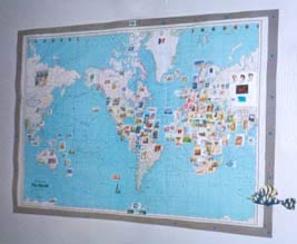 This map bears a stamp from every country in which the HGI has had students.