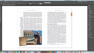 Non-fiction book design in progress in Adobe InDesign.