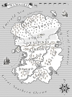 Map of Tamnarae fantasy continent for Marie Elrich