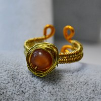 DIY Wire Wrapped Ring with Cat Eye Bead