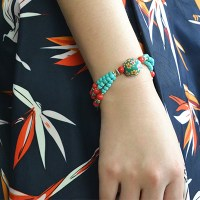 Handmade Ethnic Beaded Bracelet with Turquoise Beads