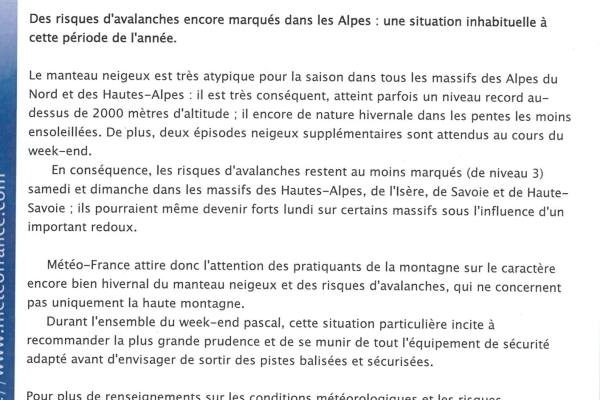 Meteo France special bulletin on avalanche risk