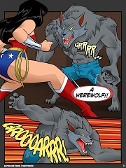 Anthro Wonder Woman vs Werewolf- [By Locofuria]