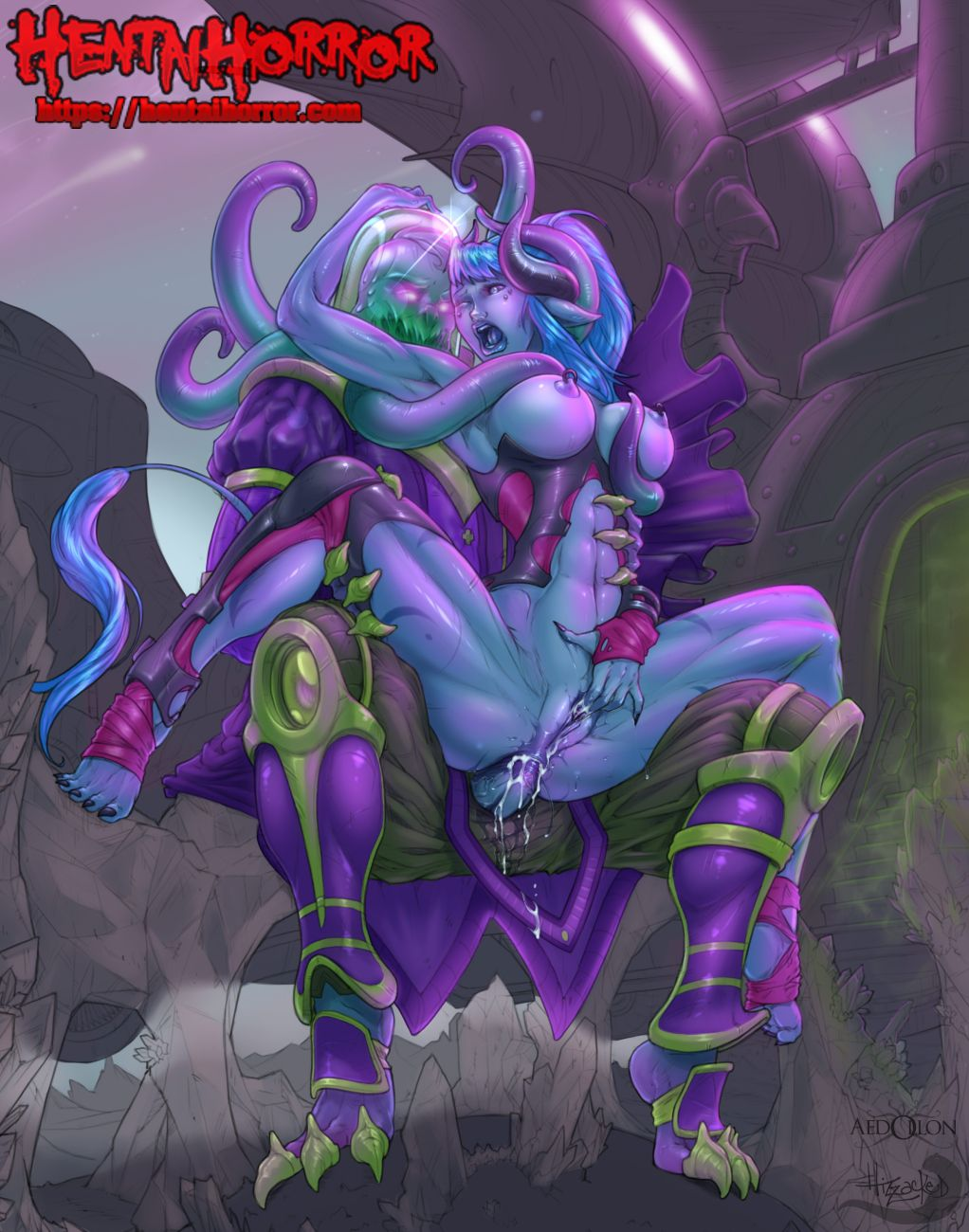 NSFW gaming porn art of busty oppai hentai slut with big tits getting skull fucked by a monster cock.
