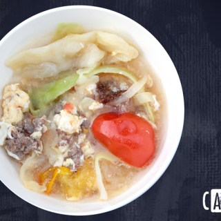 Beef, cabbage, and tomato egg-drop quick-soup