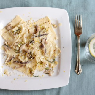 Ricotta, pistachio, and golden raisin agnolotti with shiitake sage butter sauce