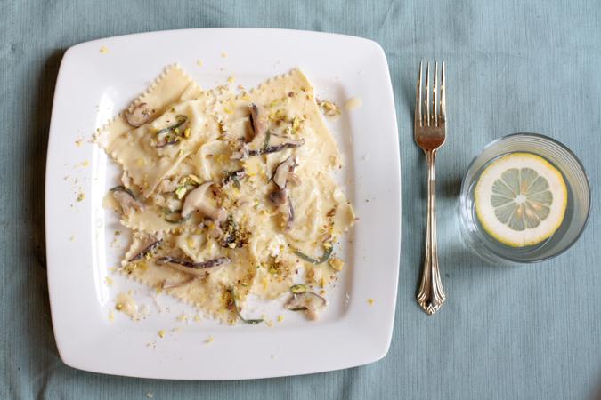 Ricotta pistachio raisin ravioli