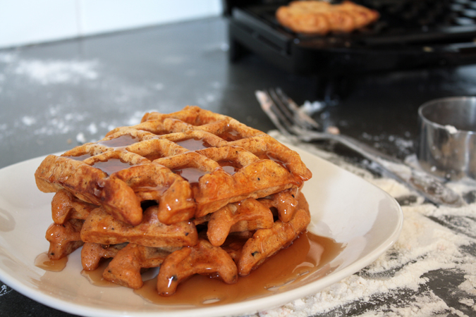 Peppery spiced sweet potato waffles - heo yeah yum