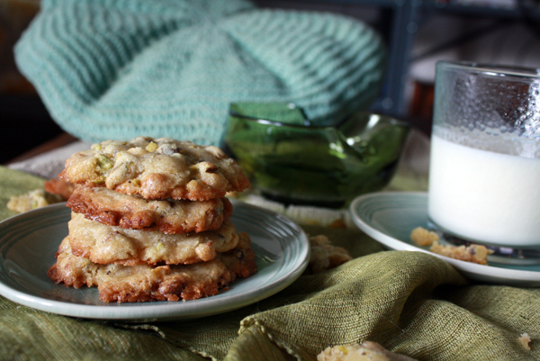 Pistachio, white chocolate, and ginger cookies