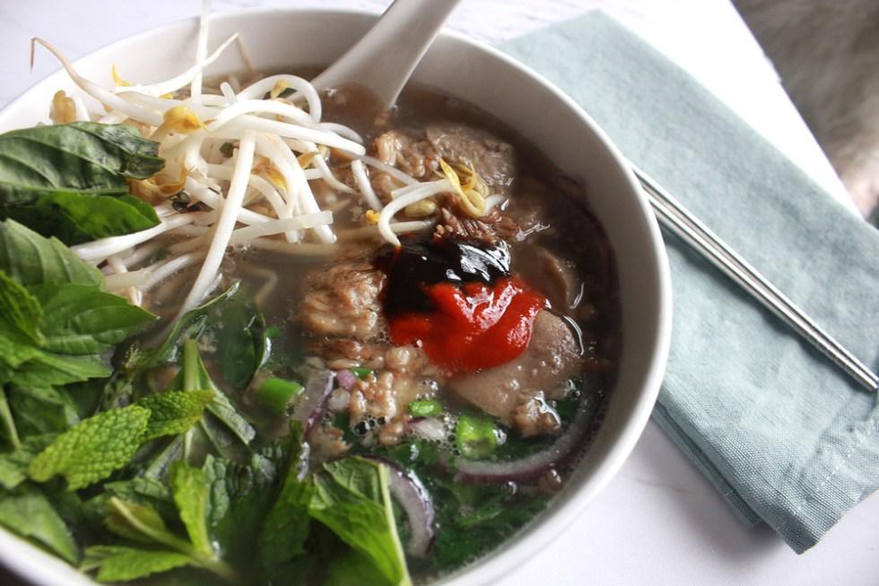 Saigon-style beef pho (phở nam) noodle soup