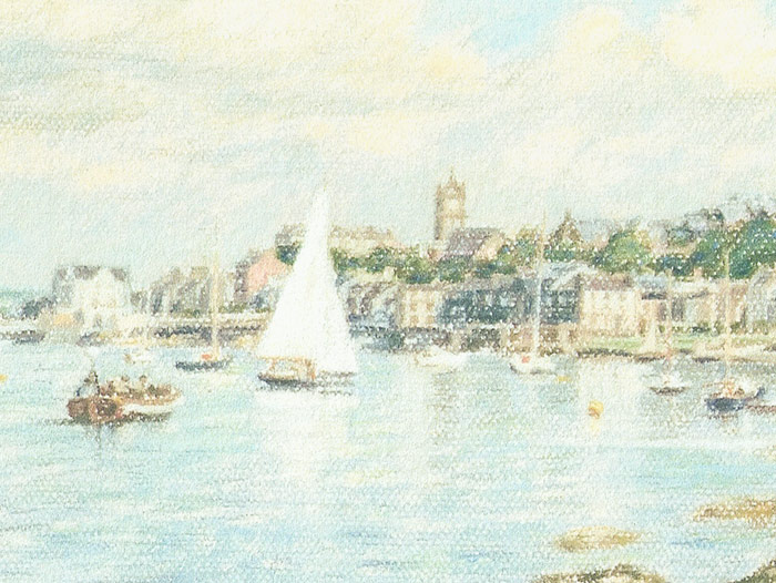 Detail of Michael Hepburn's painting of Ashton Shore in Gourock.
