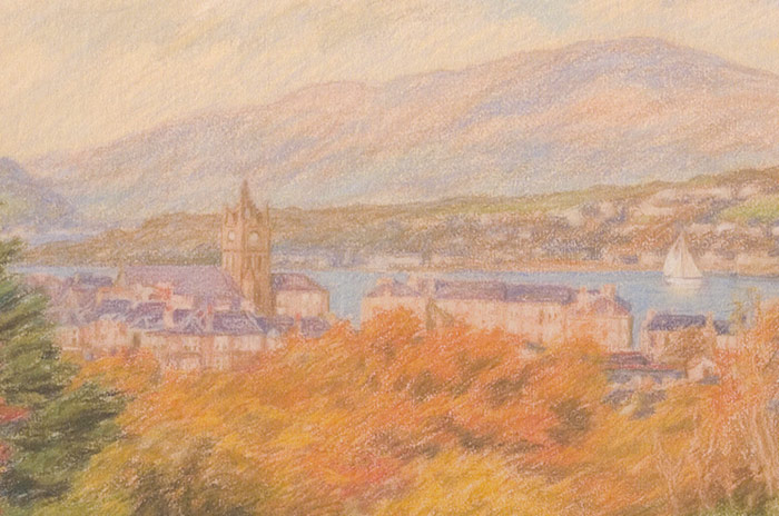 Detail of St John's Church in Gourock from top of Darroch Park.