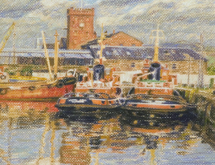 Detail of Clyde Shipping Tugs at Victoria Harbour in Greenock.