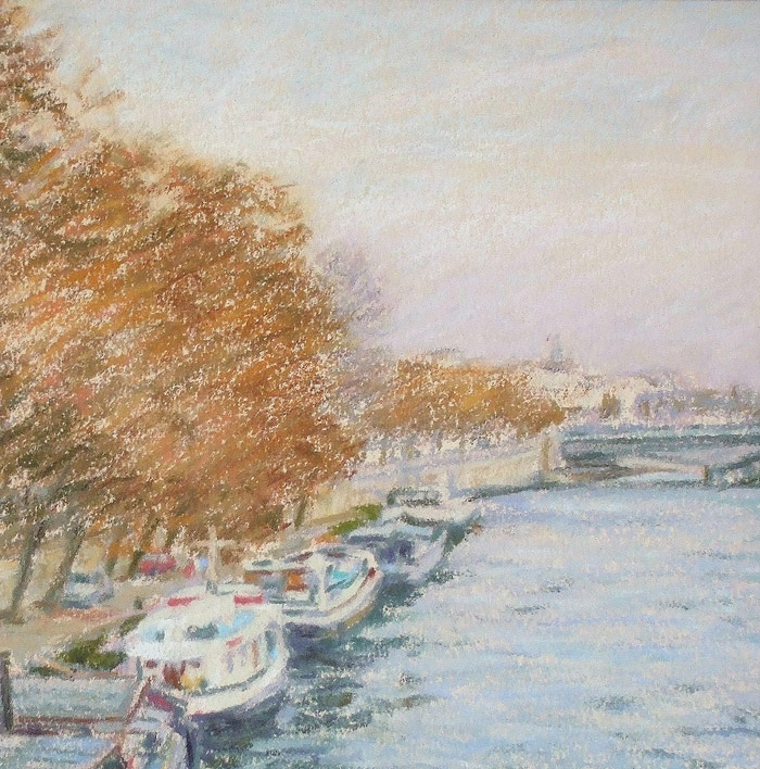 Detail of Michael Hepburn's Houseboats on the River Seine.