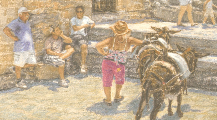 Detail of donkey handlers awaiting tourists in Lindos on the Greek island of Rhodes.
