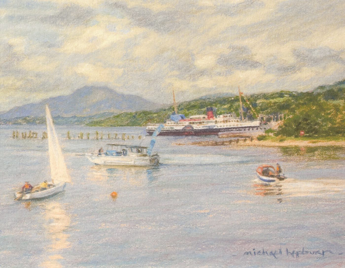 Detail of Michael Hepburn's painting of Loch Lomond Shores.