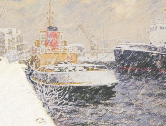 Detail of Cory Tugs during a heavy snowfall at Victoria Harbour in Greenock.