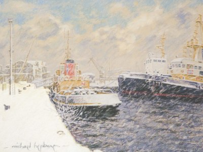 Cory Tugs during a heavy snowfall at Victoria Harbour, Greenock.