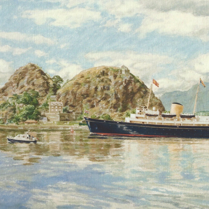 Detail of Royal Yacht Britannia passing Dumbarton Rock.