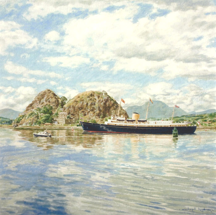 The Royal Yacht Britannia passing Dumbarton Rock on the River Clyde.