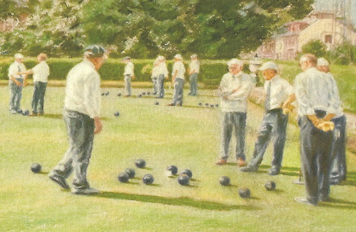 A detail of bowlers at the Men's Triples at Ardgowan Bowling Club in Greenock.