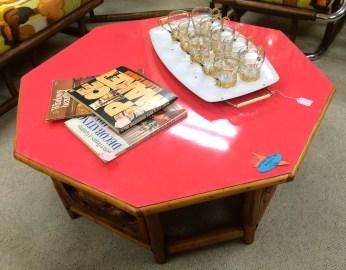 Carved Wood & Rattan Tiki Table w/ Pink Top