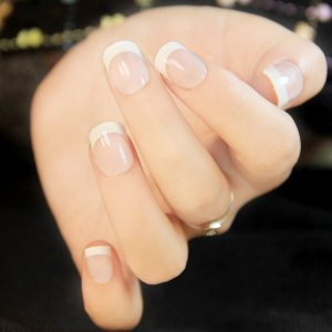 24Pcs Natural French Short False Nails