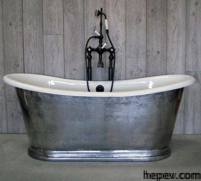 metalic bathtub