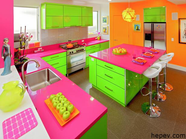 neon coloured kitchen evinizi neonlayın