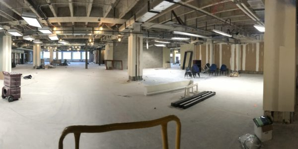 A panoramic view of the former TeenZone and the Youth Services from the old fish tanks.