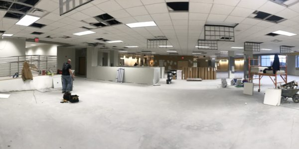 A panoramic view of Ignite. Almost all lights are installed.