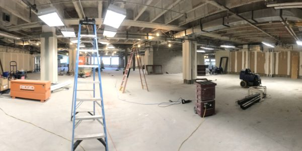 A panoramic view of Youth Services from the old fish tanks.