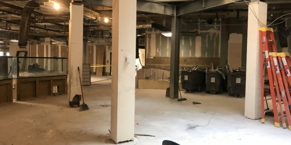 The staircase leading from the lobby to Youth Services is completely gone.