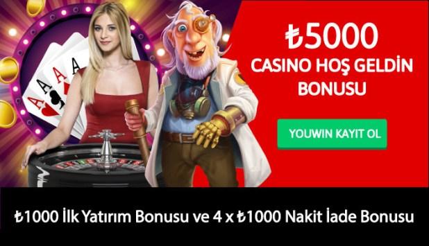Youwin 5000 TL Casino Hoş Geldin Bonusu