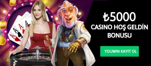 Youwin casino hoş geldin bonusu 5000 TL