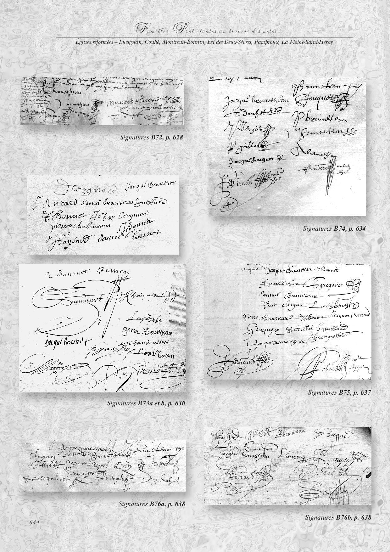"""Extrait de """"Familles protestantes à travers les actes du XVI-XVIIe siècle"""" par Marie-Reine SIRE, édition Association des Publications Chauvinoises, généalogie Vienne et Deux-Sèvres"""