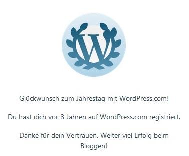8. Jahrestag WordPress.com mit Lorbeerkranz