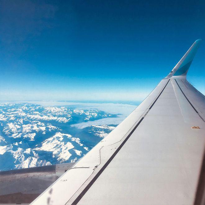 Mit dem Flugzeug über die Alpen