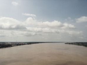 Mekong River from the bridge funded by Japan