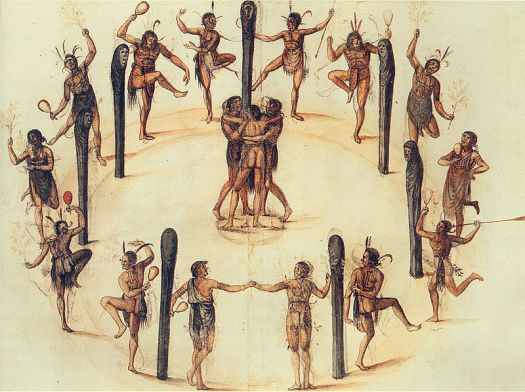 Dancing Secotan Indians in North Carolina. Watercolour painted by John White in 1585.