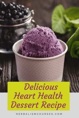 Blueberries and Hawthorn berries are valuable herbs for heart health. They are not only used in herbal medicine, they can be made into an easy, delicious dessert. #LowerBloodPressure #LowerCholesterol #HeartHealthyRecipes #HerbsHeartHealth #Herbalism #HerbalMedicine #HerbalismCourses #OnlineHerbalCourse