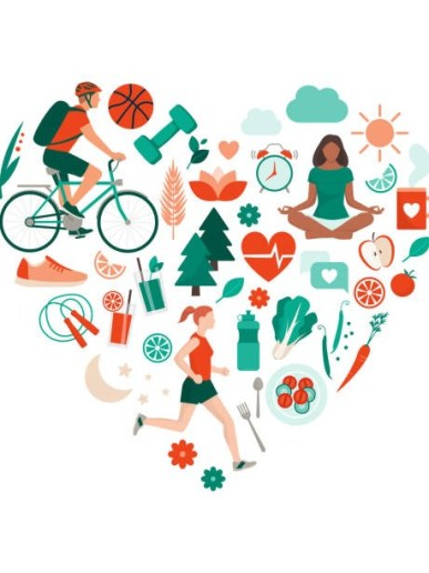 Healthy lifestyle and self-care concept with food, sports and nature icons arranged in a heart shape