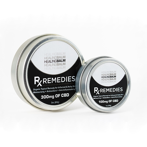 Balm for healing with CBD in round container