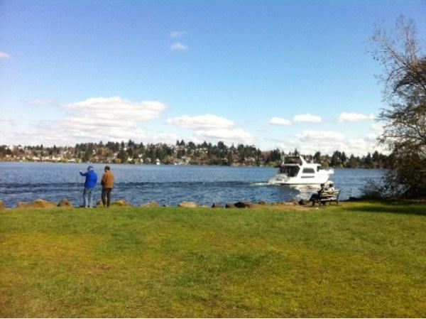 Sunny spring day nearby Marsh Island