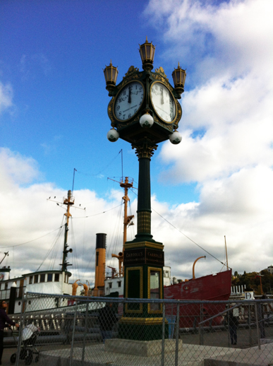 Statuesque clock in South Lake Union park, next to the MOHAI