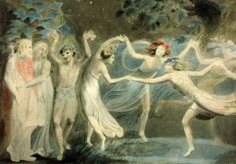 Oberon, Titania and Puck with Fairies Dancing circa 1786 William Blake 1757-1827